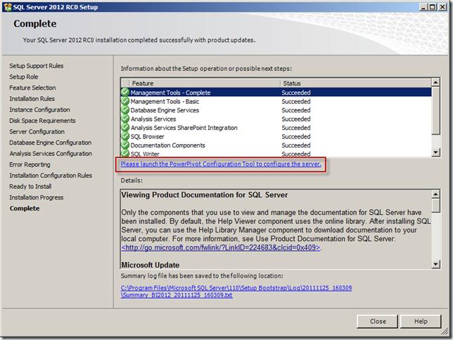SQL Server 2012 RC0 PowerPivot Configuration Tool