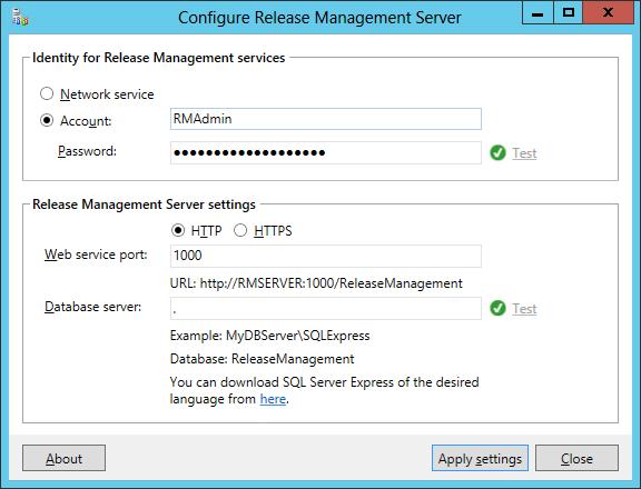 RM Server installer