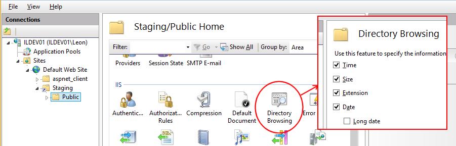 Enable IIS directory browsing