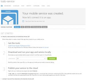 Azure Mobile Services - Figuur 3