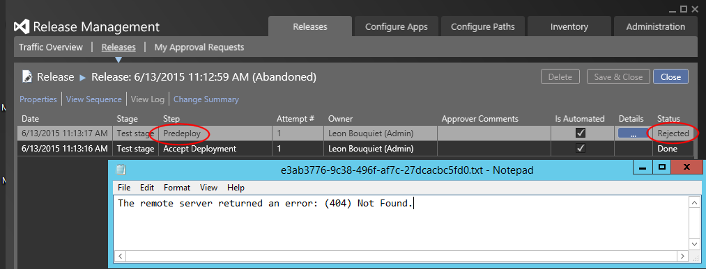 Release rejected in Predeploy