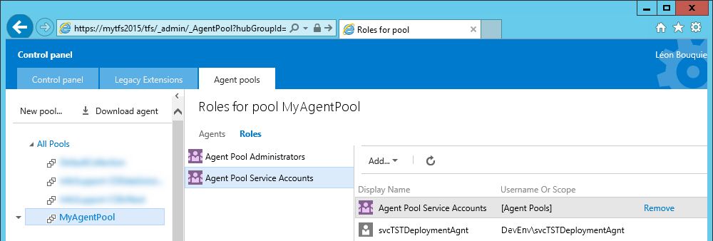 Agent pool service account