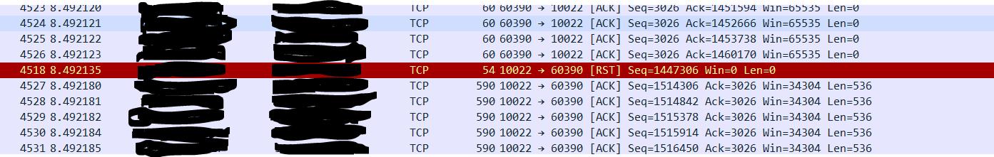 Een TCP dump van de RST packet