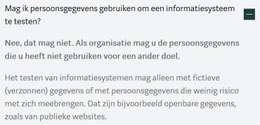 Autoriteit Persoonsgegevens: Organisaties mogen persoonsgegegevens niet gebruiken om een informatiesysteem te testen