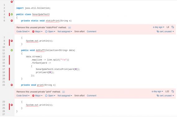Voorbeeld van een foute detectie door SonarQube in functionele code