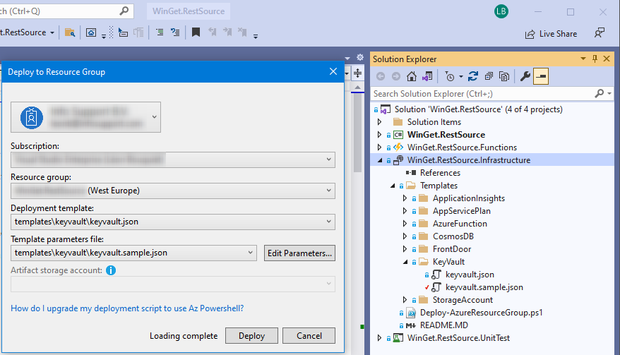 The solution structure and the Deploy to Resource Group dialog.